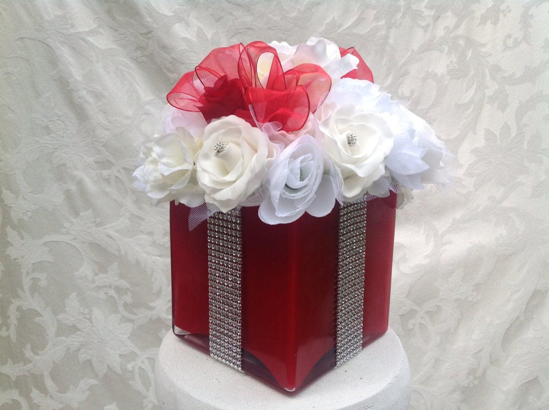 Wedding Gift Box Centerpieces : Silk Floral Bling Gift Box Centerpiece for Wedding Bridal