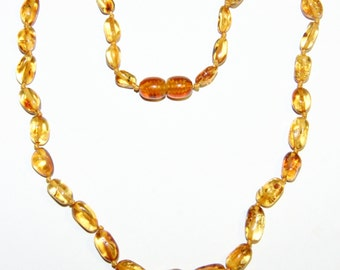 Honey - bright cognac olive beads Baltic amber teething necklace for your baby 1v