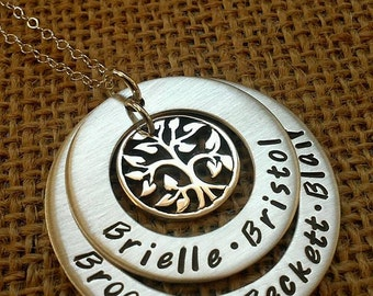 Tree of Life Necklace, Mother Necklace, Grandma Necklace, Family Names Necklace, Sterling Silver, Stamped Evermore