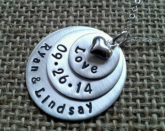 Personalize Silver Wedding Necklace - Anniversary Necklace - Couples Necklace - Wedding Date Necklace