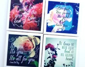 Floral Typography Art Print Ceramic Tile Coasters Featuring the Lyrics of Lana Del Rey – Set of 4