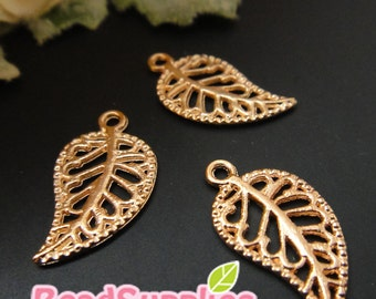 CH-ME-02238 - Nickel Free, Pink gold plated, Filigree leaf, 20 pcs