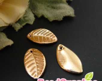 CH-ME-02239 - Nickel Free, Pink gold plated, petite leaf, 24 pcs