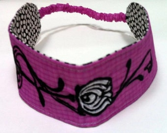 Pink Reversible Embroidered Headband Recycled Paraglider