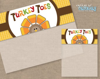 Turkey Toes, DIY Thanksgiving Bag Toppers, Editable Treat Bag Labels, INSTANT DOWNLOAD printable digital file