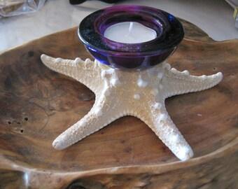 Deep Purple Glass Knobby Starfish Candle Holder - Candle Accessory - Tealight - Beach Wedding - Wedding Favors - Wedding Decor - Seashells