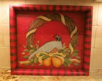 Large serving tray  French Country  hand painted with Quail, Pears, Grapevine wreath, Leaves for a sophisticated European look