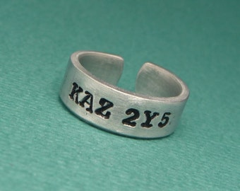 Supernatural Inspired - KAZ 2Y5 - A Hand Stamped Aluminum Ring