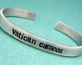 Sherlock Holmes Inspired - Vatican Cameos - A  Hand Stamped Bracelet in Aluminum or Sterling Silver