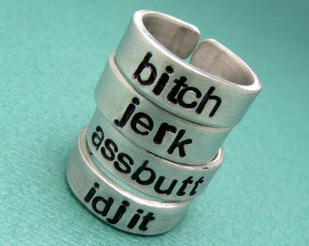Supernatural Inspired - bitch, jerk, assbutt or idjit - CHOOSE ONE Hand Stamped Ring in Aluminum