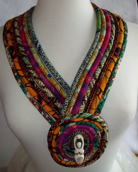 Ethnic african fabric necklace with horn goddess focal pendant for How to make african jewelry crafts