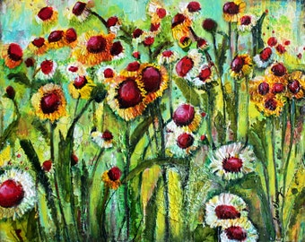 Mixed media on canvas, Original art, Flowers of the Field  by Terri Chaney is a 16 x 20 painting on canvas.