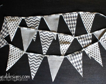 Bunting Flags on Linen Cotton Canvas - 93 inches - 2 sided