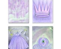 Princess Purple Nursery, Kids Decor, Kids Wall Art, SET OF 4 Prints, Nursery Wall Art, , Nursery Decor, Princess Baby room, Art for Children