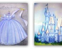 Princess Castle, Cinderella Wall Art, Nursery Prints, Princess  Dress & Castle for Baby Girl Nursery Decor, Children Decor, Kids Wall Art
