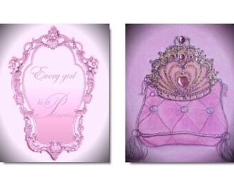 Princess Nursery, Cinderella room decor, Set OF 2 Art Prints, Nursery Decor, Princess Crown, Princess Quotes,Baby Girl Pink Nursery