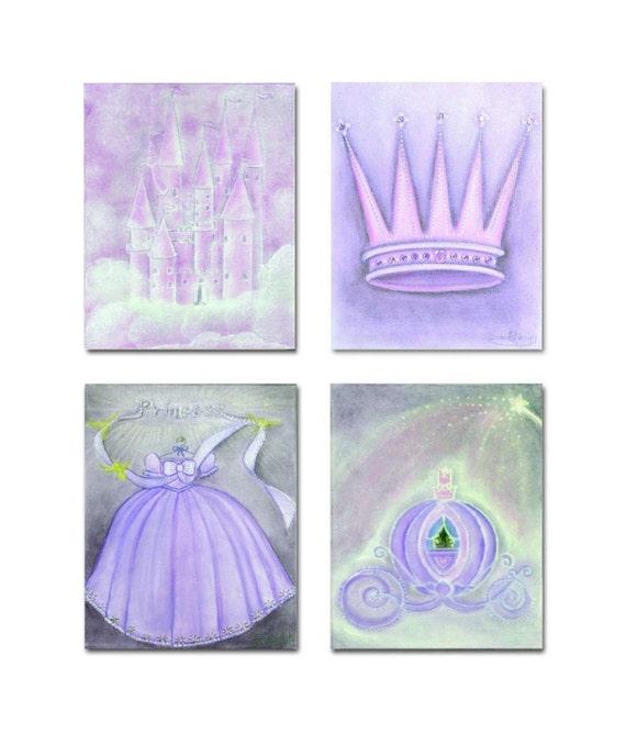 Princess nursery purple princess decor nursery by handpainting - Purple baby girl nursery ideas ...