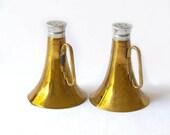 Vintage Brass Salt & Pepper handles Glass Inserts