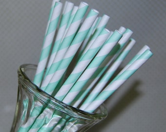 paper straws 100 MINT Green stripe paper straws drinking straws vintage straws with flags - cake toppers party straws