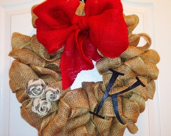 Reduced, Burlap Wreath, Christmas Wreath, Holiday, Home Decor, Decoration, Initial, Personalized, Chevron
