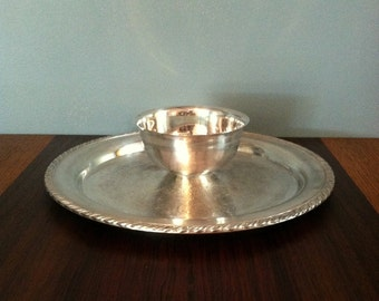 Vintage Silver Plated Tray with Built in Bowl WMA Rogers