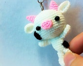 MiniAmigurumi Cow for  Keychain. Telephone Strap and Bagcharm