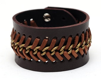 Leather and chain bracelet, Brown leather cuff, Braided bracelet, ALL SIZES