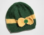 Baby Girl Packers Knit Hat, newborn girl gift, Green Bay Packers, green yellow hat