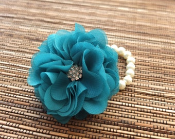 Wrist Corsage, Chiffon Flower Corsage (Teal), Teal Corsage, Chiffon Rose corsage