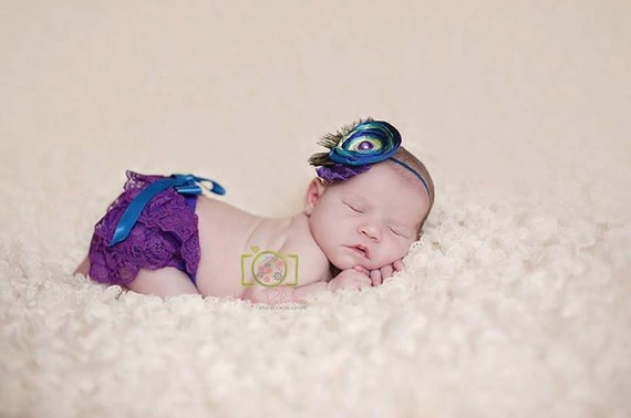 Peacock Lace Diaper Cover and Headband Purple Blue by KutieTuties