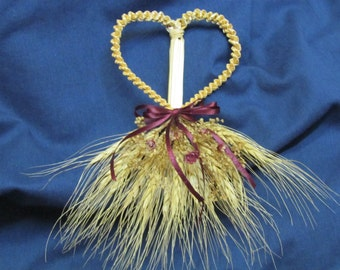 Woven Wheat Heart with Burgundy Ribbon and Flowers
