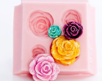 Rose Flexible Silicone Mold makes four beautiful Roses at one time, great for polymer clay, wax, soap, resin, paper, metal, PMC  (518)