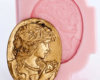 Cameo mold with  Victorian Lady - easy to use with polymer clays, resins, metal clays, food or any moldable material (507)