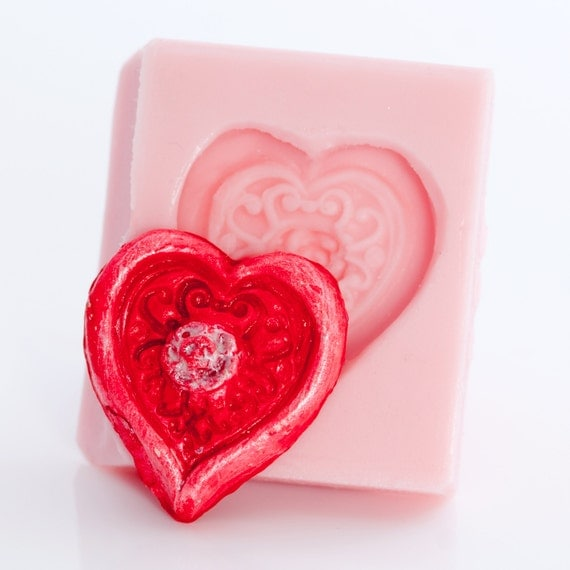 Silicone Rose Heart food grade mold works great with fondant, gum paste, chocolate, hard candy, cream cheese mints, butter and more (506)