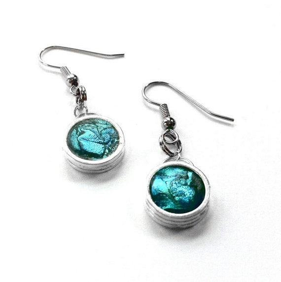 Teal Earrings, Silver Dangle Earrings, Teal Jewelry, Silver and Teal, Customizable