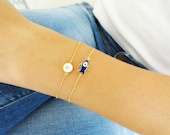 Mother daughter jewelry matching evil eye bracelets - mom mommy  bracelet with ball chain gold plated mother birthday gift arabic turkish