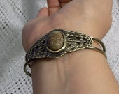 RESERVED for Sandy 50% OFF! Antique Brass Leafy Cuff Bracelet with Autumn Jasper Cabochon Setting (B3056)