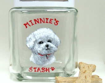 Treat Jar, Bichon Frise, Pet Painting, Dog Biscuit Decanter, Dog Food Canister, Custom Pet Portrait, Kitchen Decor, Glass Jar, Dog Food