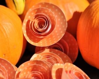 Orange polka dot Paper Flowers