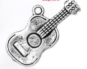 5 pieces Antique Silver Guitar Charms