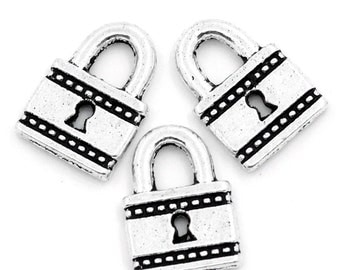 10 Pieces Antique Silver Lock Charms