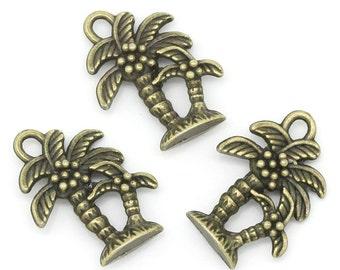 10 Pieces Antique Bronze Coconut Tree Charms