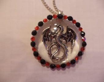 Dragon necklace, Crystal dragon, Fantasy necklace, resin necklace, Dragon,mythical necklace