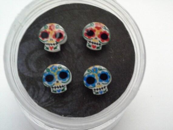 Small Sugar Skull Earring Set