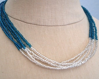 Teal and silver bead multistrand necklace by Cerise Jewelry