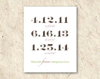 Special Dates Wedding or Marraige - Printable DIY - Custom Color