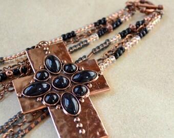 Copper Cross Triple Strand Beaded Necklace Boho Black Fashion Jewelry Bohemian Layered Christian Large Chunky Pendant Hammered Statement