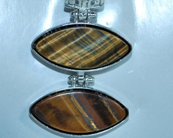 Tigereye Pendant with Silver Edge- individual