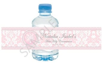 Pink Communion Water Bottle Labels/Wrappers - for Christening, Baptism, Communion, Confirmation, Religious Events