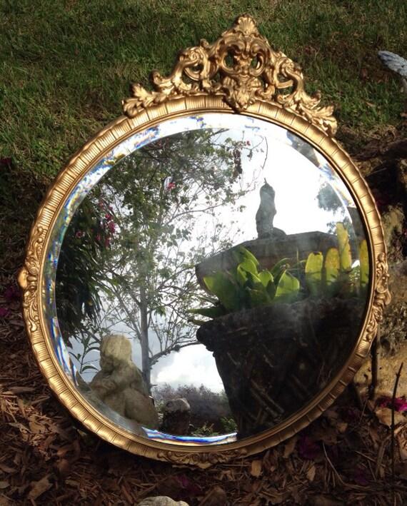 Hollywood regency antique gold gilt beveled large round mirror for Large round gold mirror